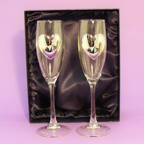 Heart Champagne Flutes Glasses Gift Boxed Personalised Anniversary Gift